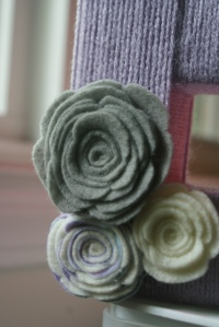 My handmade felt flowers. They are so fun to make, and so very pretty!