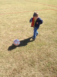My youngest, who absolutely cannot wait to play soccer like his big brother and sister!